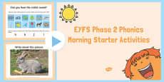 EYFS Phase 2 Phonics Morning Starter Activities PowerPoint
