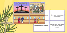 Easter Story Matching Sequencing Cards Colour Romanian Translation