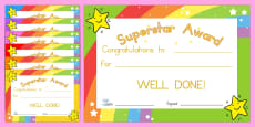Australia - Superstar Award Certificates