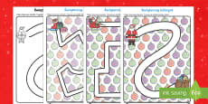 Karty Świąteczny labirynt Rysowanie po śladzie