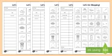 Shopping List Differentiated Activity Sheets