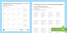 Completing the Square to Find Turning Points Activity Sheet