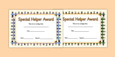 Special Helper Award Certificates
