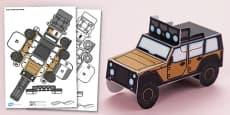 3D Safari Vehicle Paper Model Activity