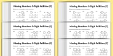 Addition 5-Digit Numbers Missing Numbers Differentiated Activity Sheet Pack