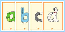 Lowercase Animal Alphabet Display Posters