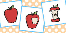 3 Step Sequencing Cards: Eating An Apple