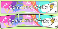 Come and Write Display Banner