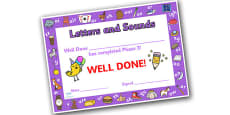 Letters and Sounds Award Certificates Phase 3
