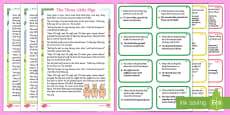 The Three Little Pigs Differentiated Story and Comprehension Question Cards
