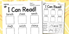 I Can Read Phase 4 CVCC Words Using Phase 3 Graphemes Activity Sheet