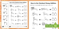 Race to the Checkout Money Addition Activity Sheet