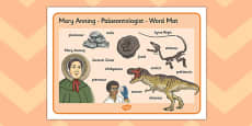 Palaeontologist Word Mat Mary Anning