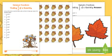 Autumn Themed Fractions Finding 1/2 of a Quantity Activity