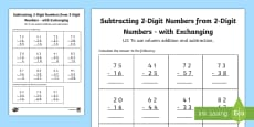 Year 3 Subtracting 2-Digit Numbers from 2-Digit Numbers in a Column with Exchanging Activity Sheet