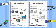 Mechanics/Garage Role Play Repairs Form