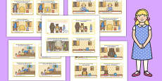 Goldilocks and the Three Bears Story Sequencing 4 per A4 with Text Polish Translation