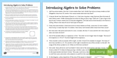 Secondary 15 Minute Revision Activities: Introducing Algebra to Solve Problems Activity Sheets