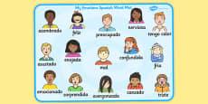 Emotions Word Card Spanish