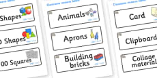 Rhino Themed Editable Classroom Resource Labels