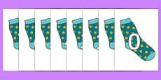 Numbers 0-100 on Socks