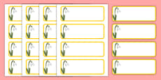 Snowdrop Themed Editable Drawer-Peg-Name Labels (Blank)