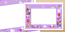 Today We Are Learning Display Sign Purple