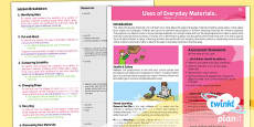 PlanIt - Science Year 2 - Uses of Everyday Materials Planning Overview
