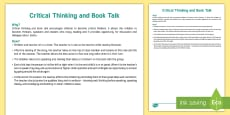 * NEW * Critical Thinking and Book Talk Lesson Ideas