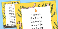 6 Times Table Display Poster