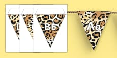 Jaguar Pattern Themed Alphabet Bunting