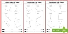 Measure and Order Angles Differentiated Activity Sheets