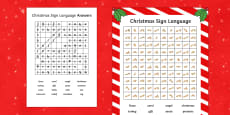 Christmas Themed British Sign Language Wordsearch