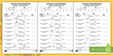 * NEW * Autumn-Themed Place Value Code Breaking Activity Sheets - English/Romanian