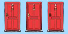 Numbers 0-20 on Doors