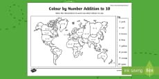 * NEW * Where in the World Shall We Go? Addition to 10 Colour by Number