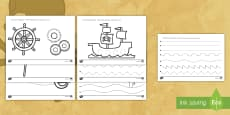 * NEW * Pirate Themed Pencil Control Activity Sheet