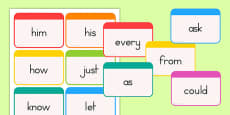 Dolch Word Flashcards First Grade