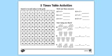 5 Times Table Activity Sheet