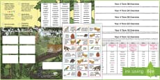 * NEW * Year 4 Rainforest Themed Spelling Menu Pack