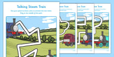 Talking Steam Train Themed Pencil Control Path Activity Sheet Pack