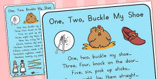 Australia - One, Two, Buckle My Shoe Nursery Rhyme Poster