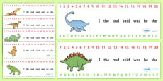 Combined Alphabet and Number Strips (Dinosaurs)