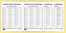 Number Bond Challenge Activity Sheet