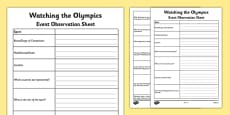 Watching the Olympics Event Observation Sheet