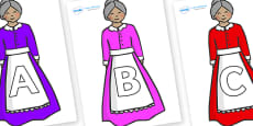 A-Z Alphabet on Old Mother Hubbard