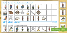 * NEW * Pirates Complete the Pattern Differentiated Activity Sheets