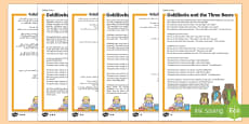 Goldilocks and the Three Bears Traditional Tales Differentiated Reading Comprehension Activity Arabic/English