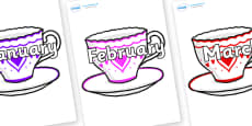 Months of the Year on Cups and Saucers