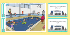 Swimming Pool Scene and Question Cards Romanian